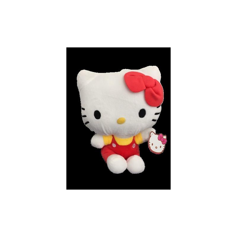Peluche hello kitty salopette rouge et jaune