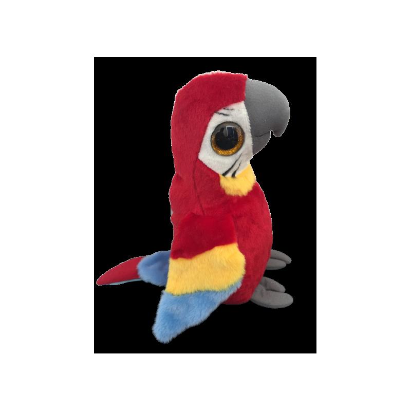 Peluche perroquet rouge jaune bleu en 25 cm