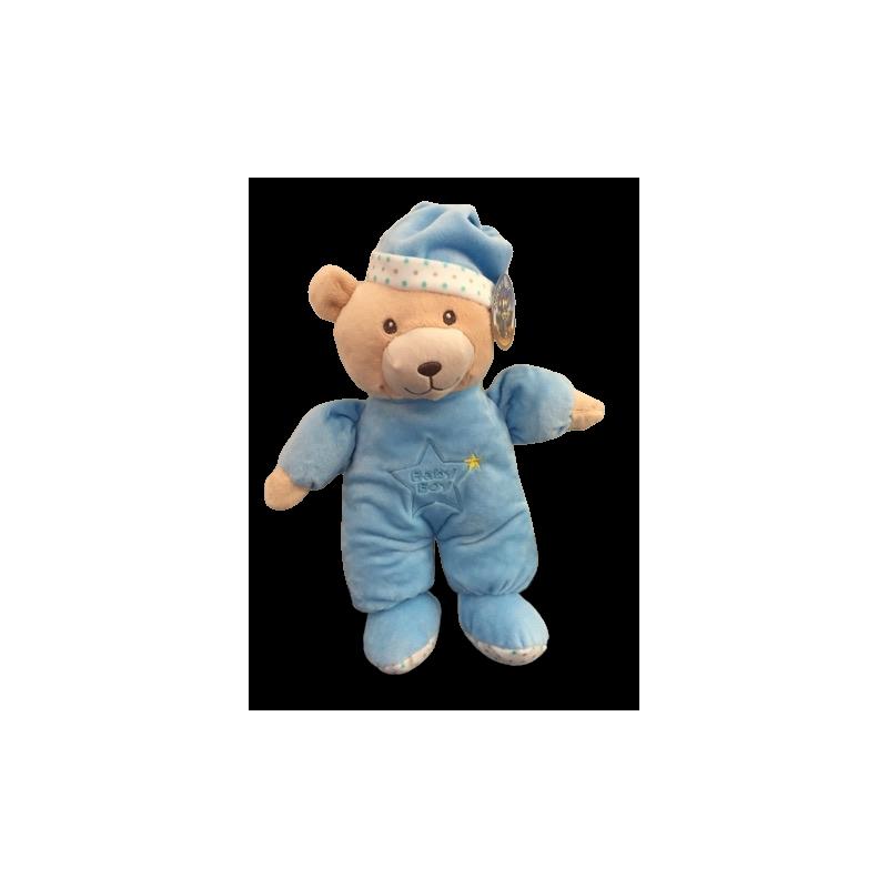 Peluche ours doudou pyjama bleu avec bruit de clochette de 30 cm