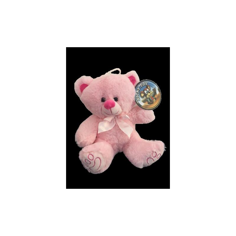 Peluche ours rose tout doux de 23 cm