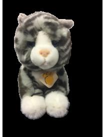 Peluche chat gris tigré de...