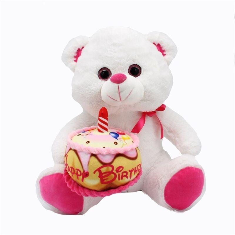 Peluche ours avec gateau d'anniversaire 20 cm