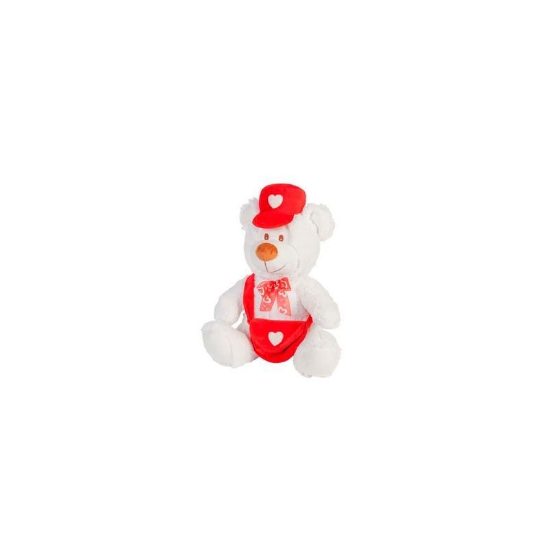 Ours en peluche livreur de courrier du coeur 30 cm