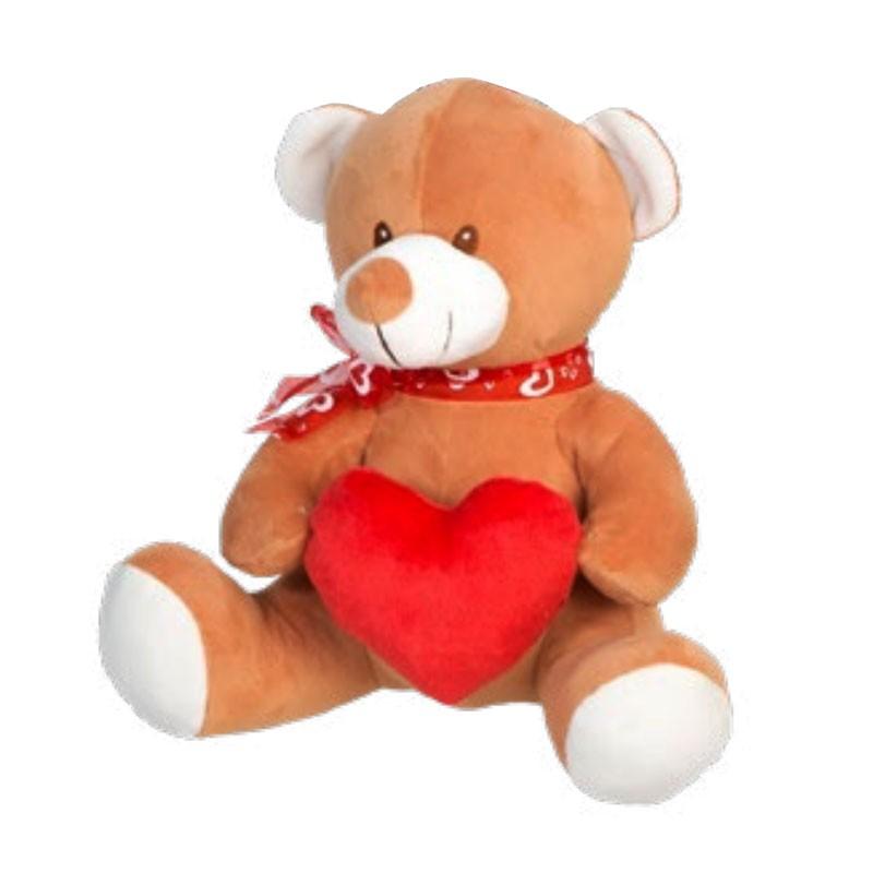 Ours en peluche avec coeur en main 28 cm