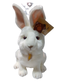 Peluche lapin blanc yeux...