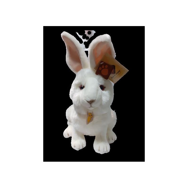 Peluche lapin blanc yeux rouge 30 cm