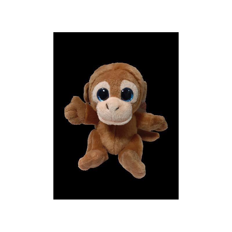 Peluche singe marron yeux brillant 20 cm
