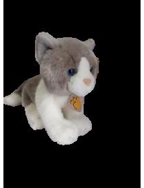 Peluche chat blanc et gris...