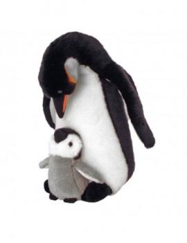 PELUCHE PINGOUIN MAMAN ET SON BEBE 30CM