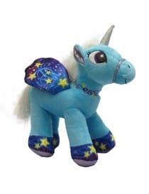Peluche licorne bleu 30 cm