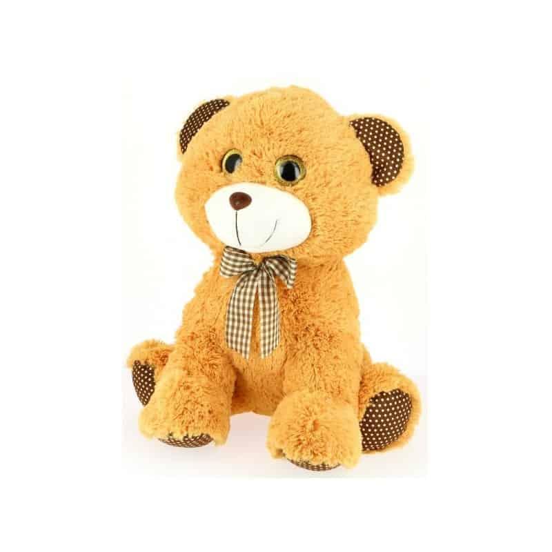 Peluche ours assis yeux brillant 45 cm