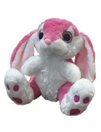 Peluche lapin rose yeux...