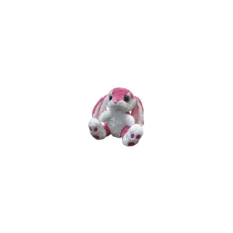 Peluche lapin rose yeux brillants T3 30 cm
