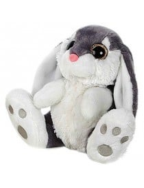 Peluche lapin gris yeux...